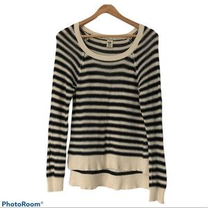 Roxy Black & Cream Striped Long Sleeve Sweater XL